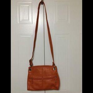 Leather Soprano Pumpkin-Coloured shoulder Bag